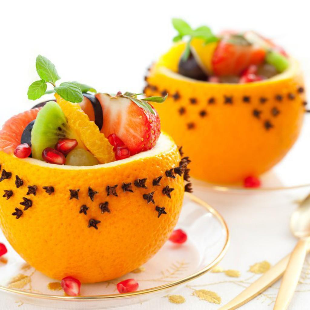 Украшение фруктовых салатов